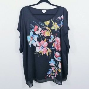 Avenue Black Floral Scoop Neck Blouse Size 18/20